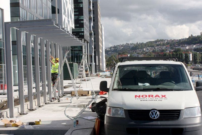 Lehus Buss Oslo Dronnings Eufemias gate ved Bjørvika under konstruksjon