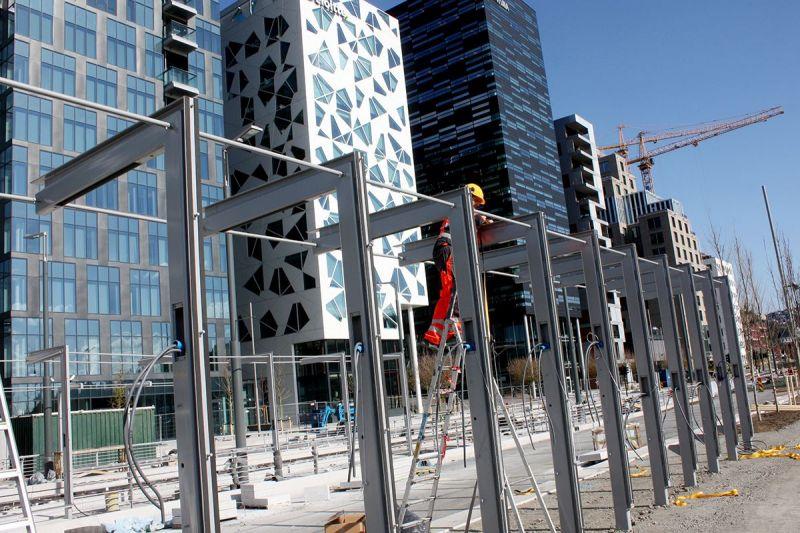 Lehus Buss Oslo Dronnings Eufemias gate ved Bjørvika under konstruksjon bakside