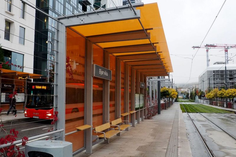Lehus trikk Oslo Dronnings Eufemias gate ved Bjørvika fra Venstre