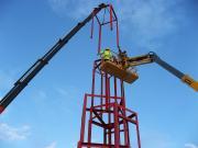 Ståltårnet på Tynset under konstruksjon